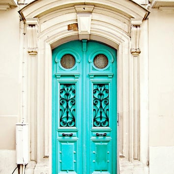 Blue Door in Paris, France - 8x10 Art Photography Print, Travel, French - Turquoise, Color Pop, Neon, Fluo, Bright, Architecture, Parisian