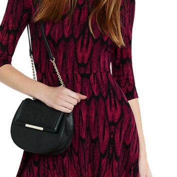 Feather Print Half Sleeve Dress