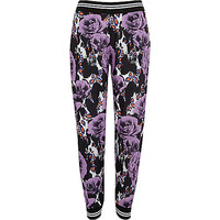 River Island Womens Purple floral animal print joggers