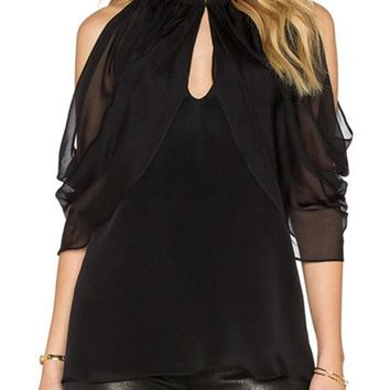 Black Patchwork Cut Out Round Neck Blouse