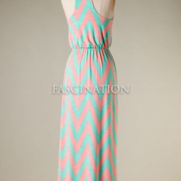 Afternoon at the Lake Maxi Dress - Chevron