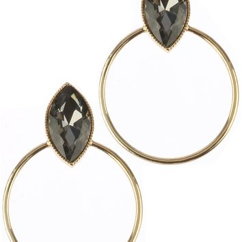 Black Diamond Marquise Cut Stone Metal Ring Earring