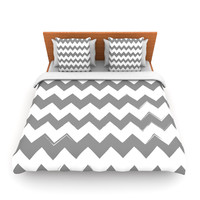 "KESS Original ""Candy Cane Gray"" Chevron Twin Fleece Duvet Cover - Outlet Item"