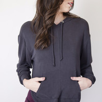 Free People Black Back Into It Hoodie
