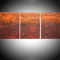 """ARTFINDER: - Orange Endeavour - three piece extra large triptych 3 panel wall art painting big canvas wall abstract canvas impasto modern 54 x 24"""" by Stuart Wright - """" Orange Endeavour """" impasto modern art piece f..."""