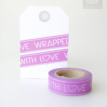 "WASHI TAPE,white wording ""wrapped with love"" on violet background"