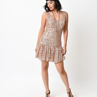 1920s Style Blush Geometric Sequin Deco Beaded Flapper Dress