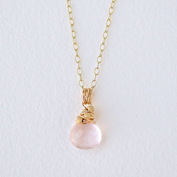 Rose Quartz Necklace Gold Fill, Wire Wrapped Briolette Pendant, Push Present Baby Girl