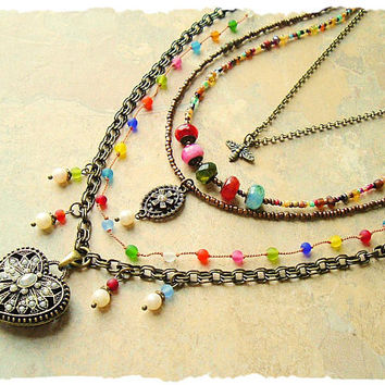 Bohemian Jewelry, Colorful Boho Gypsy Beaded Necklace, Hand Knotted, Filigree Heart Pendant, bohostyleme, Kaye Kraus