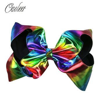 "8"" Big Rainbow Leather Hair Bow With alligator Clip"