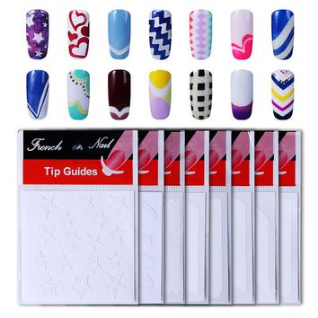 HNM 8pack French Nail Tips Sticker Nail Art DIY Stickers UV Gel Nail Polish Sticker Manicure Nail Forms Fringe Guides Sticker