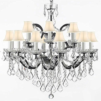"Swarovski Crystal Trimmed Chandelier! 19th C. Rococo Iron & Crystal Chandelier Lighting With White Shade H 28"" x W 30"" - A83-WHITESHADES/995/18SW"