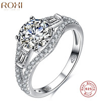 ROXI 925 Sterling-silver-jewelry Ring Round Zircon