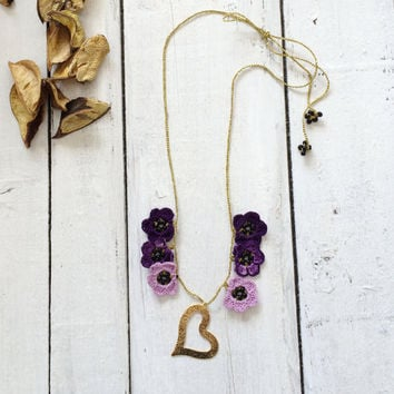 Heart Necklace, Boho Crochet Pendant, Beaded Necklace, Oya Beaded Collar, Golden Flower Choker, Beaded Jewelry, Beadwork, Gift For Mom