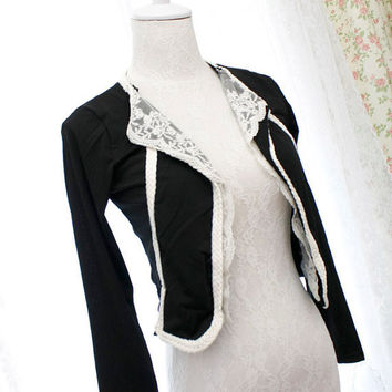 Black women cropped jacket white lace collar by miadressshop