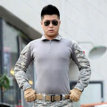 Hiking Shirt camping Combat shirt Camouflage military uniform us army cargo multicam Airsoft paintball militar tactical clothing with knee pads KO_17_1