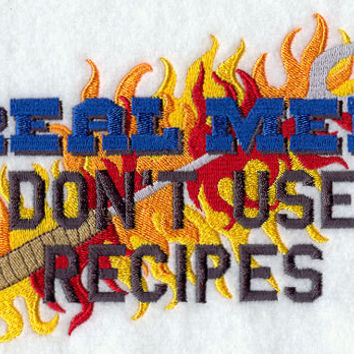 Real Men Don't Use Recipes Funny Embroidered BBQ Apron Father's Day Gift, Birthday Gift, Host Gift