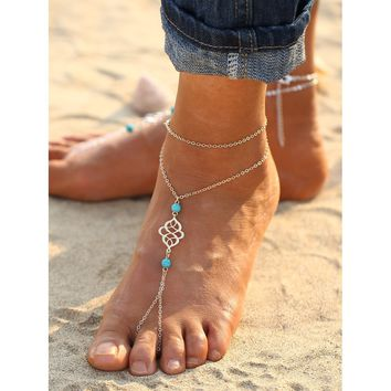 Turquoise Detail Chain Anklet With Toe Ring