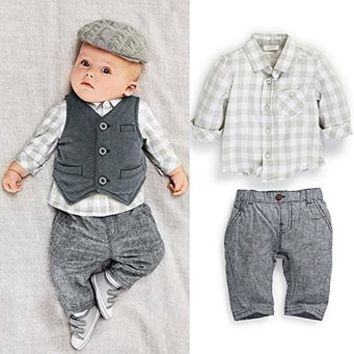 Touchme New Newborn Baby Boy Grey Waistcoat + Pants + Shirts Clothes Sets Suit 3pcs