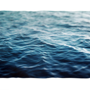 Dark Waters - Fleece Blanket, Deep Blue Ocean Water Style Accent, Coastal Cottage Chic Coral Fleece Throw. In 30x40, 50x60 and 60x80 Inches