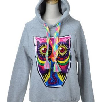 Anna-Kaci S/M Fit Grey Hoodie Large Eyed Owl Highlighter Neon Sweater Strings: Clothing