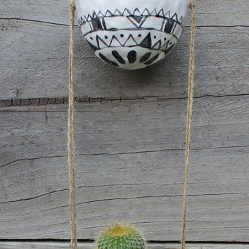 Hand Made Ceramic Hanging Planters - Pots - White with Black / Aztec / Africa / Geometric