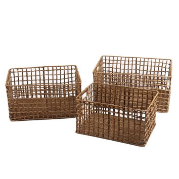 Set of 3 Woven Milk Crate Baskets