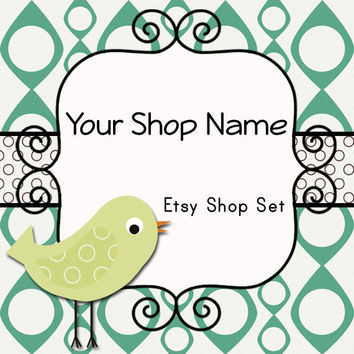 Etsy Banner and Avatar Set for Your Store--Birdie (B03)