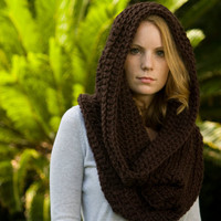 Hooded Cowl, Chocolate Brown Crochet Oversized Hood