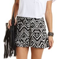 Ruffle-Trim Ikat Print High-Waisted Shorts