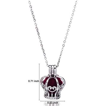 B32 Aromatherapy Lockets Charms Crown Heart Design Bead Cage Floating Locket Necklace Pendant Kids Girl Jewelry with 16'' Chain