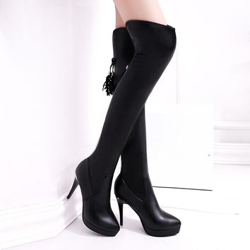 Women Boots High-Heeled Knee Heels Waterproof  Over Knee Tassel High Boots