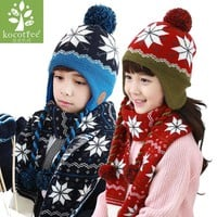 Children Winter Hat Scarf Mittens Set Coloful Stripes Knit Baby Kids Beanie Cpas Neck Warmers Gloves Suits For Boys Girls Thick