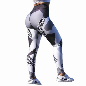 Leopard Print Sporting Leggings Women Fitness High Elastic Skinny Pants Fitness Clothing For Women Push Up Workout Leggings CK31