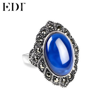 EDI 100% 925 Sterling Silver & Marcasite Fine Jewelry Big Natural Sapphire Rings for Women Bohemian Style Rings for Valentine's