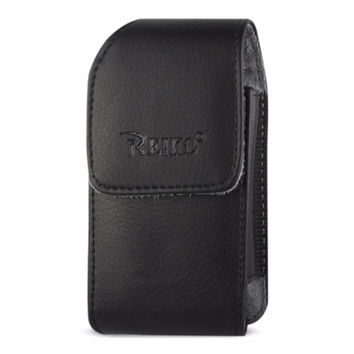 Reiko VERTICAL LEATHER POUCH TREO 650-BLACK WITH MEGNETIC AND BELT CLIP (4.4X2.3X0.9 INCHES)