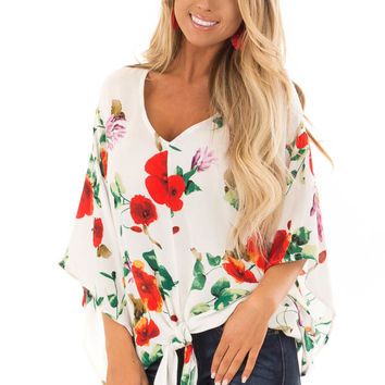 Ivory Floral Print Flowy Blouse with Knot Detail