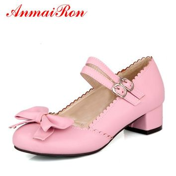 ANMAIRON Summer Cute Bowtie High Heels Ladies Shoes Woman Elegant Dance Ballet Shoes Women's Lolita Shoes Wedding Pumps Size 43