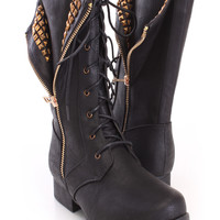 Black Studded Zipper Combat Boots Faux Leather