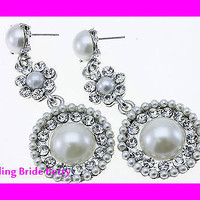 Vintage Cream Pearl and Silver Tone Bridal  Earrings