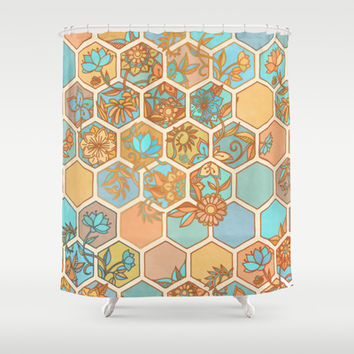 Golden Honeycomb Tangle - hexagon doodle in peach, blue, mint & cream Shower Curtain by Micklyn