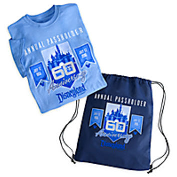 Disneyland 60th Anniversary Tee for Adults with Cinch Bag - Annual Passholder - Limited Release