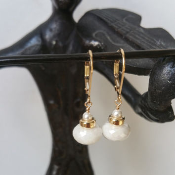 Silverite Earrings, Silverite and Pearl Earrings, Gold Silverite Earrings, Gold Pearl Earrings, Gold Silverite and Pearl Earrings