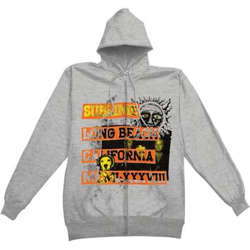 Sublime Men's  1988 Logo Zippered Hooded Sweatshirt Grey Rockabilia