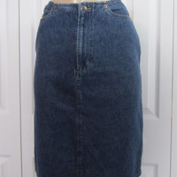 Vintage Denim Skirt Hipster Jean Skirt, Womens Size 6, Grunge Denim, No Waistband Skirt 80s 90s Classic Casual Fly Front Skirt