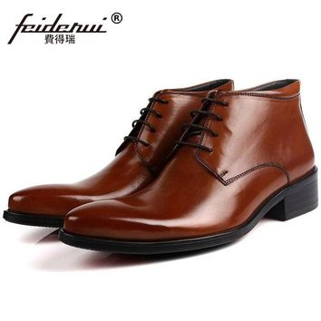 Fashion Pointed Toe Brand Man Handmade Shoes Italian Designer Genuine Leather Male Footwear Men's Cowboy Martin Ankle Boots QC28