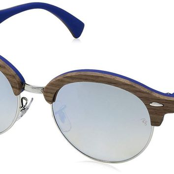 Authentic RAY-BAN CLUBROUND WOOD 4246M - 12179U Sunglasses Brown Blue NEW 51mm