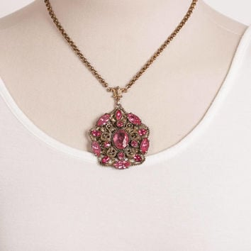 Vintage Ornate Pink Rhinestone Large Pendant Necklace, Brass, Free Shipping, Necklace for Women, Gift Ideas, Rolo Chain, Hot Pink Stone,