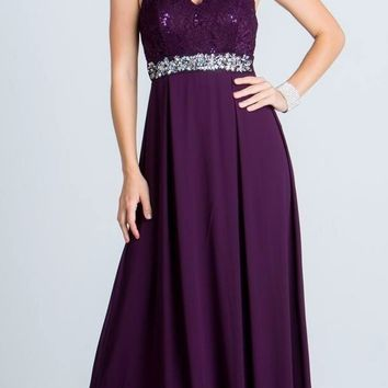 Empire Embellished Waist Cut Out Back Long Formal Dress Eggplant