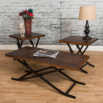 Michael Anthony Reclaimed Wood 3-Piece Foldable Table Set